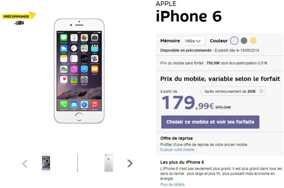 iphone 6 les prix avec forfaits chez orange sfr free. Black Bedroom Furniture Sets. Home Design Ideas
