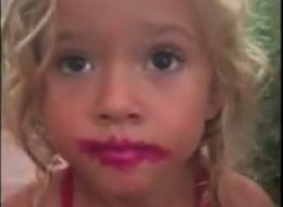 Little Girl Denies Getting Into Her Mom's Makeup, Despite Being Caught Red-Lipped