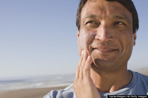 applying sunscreen