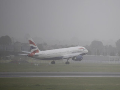 A BA flight taking off in heavy fog