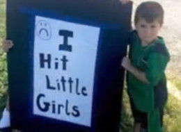 Dad Punishes 4-Year-Old By Making Him Hold 'I Hit Little Girls' Sign