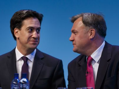Labour Leader Ed Miliband (left) with with Ed Balls
