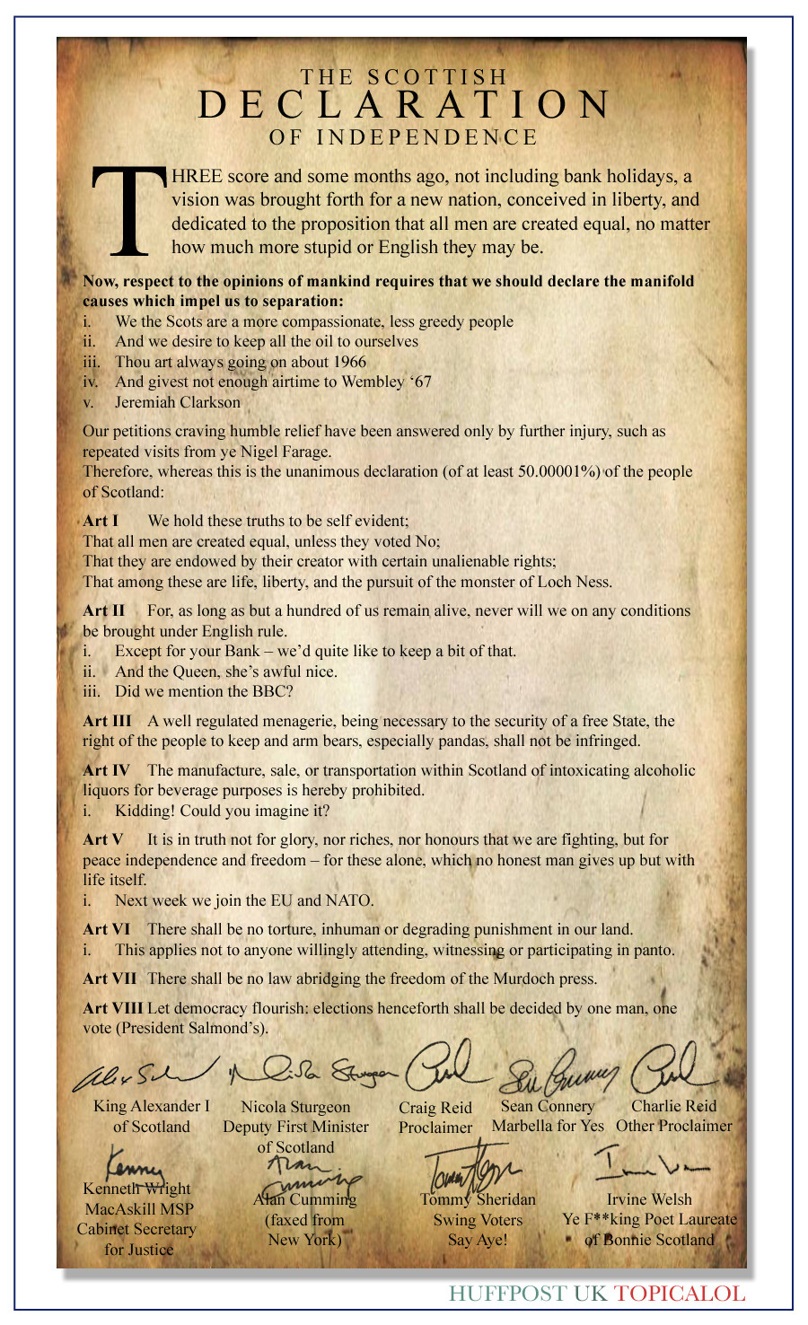 REVEALED: The Scottish Declaration Of Independence
