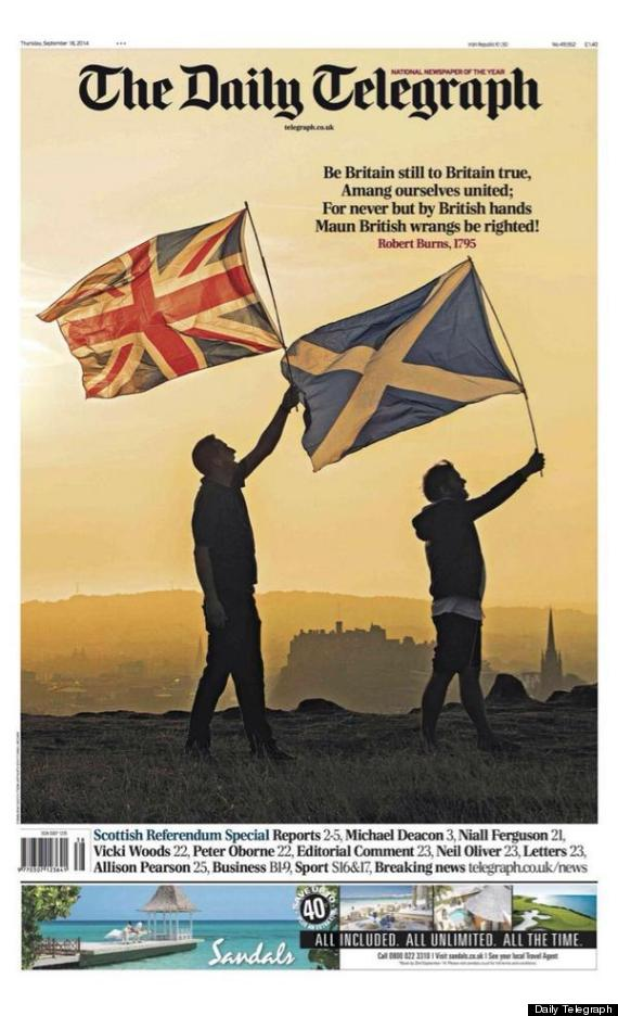 daily telegaph front scottish indepdendence