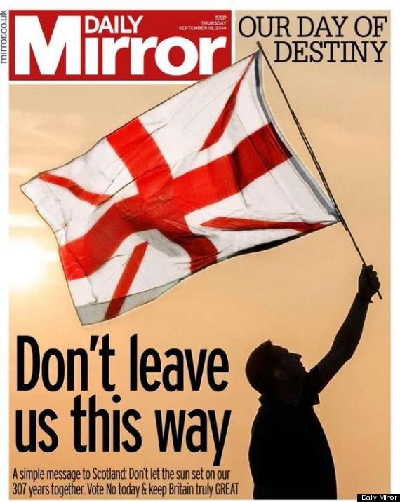 daily mirror front scottish independence