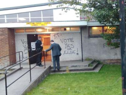 Grafitti at a polling station