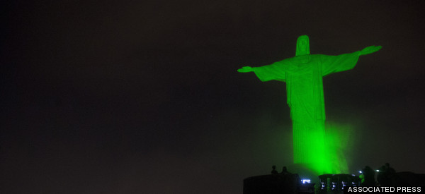 Christ The Redeemer Turns Green For People's Climate March