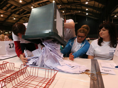 Votes being counted in the Scottish referendum