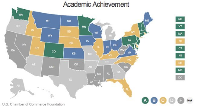 Business Leaders Think These Are The Best States For Education - Best education map of us