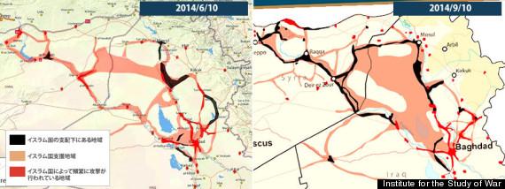 ISIS(Islamic State) Sanctuary Map イスラム国の支配地域マップ