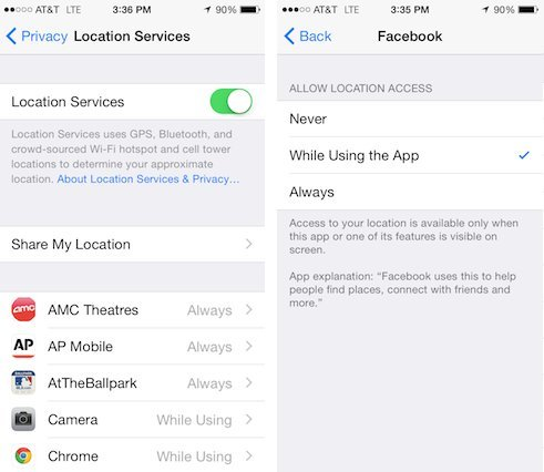 location services while using