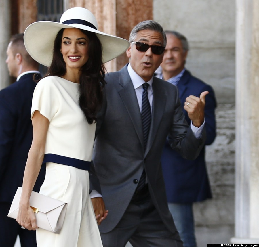 Alamuddin wears chic pantsuit for civil ceremony with george clooney