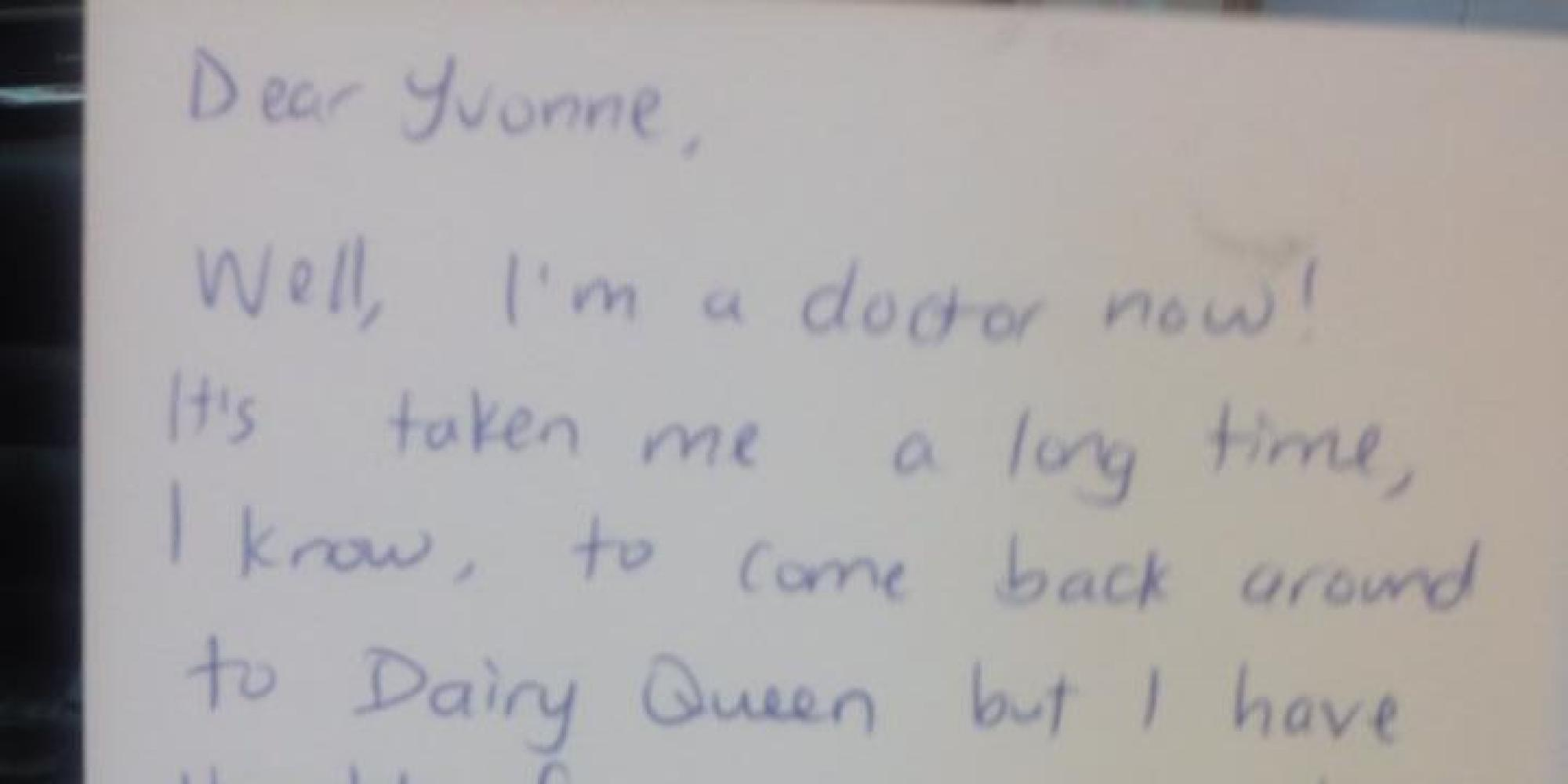 doctor writes letter of gratitude to dairy queen owner moves her doctor writes letter of gratitude to dairy queen owner moves her former boss to tears the huffington post