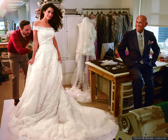 cf91f367ae8 Amal Alamuddin s Oscar de la Renta Wedding Dress Was Too Heavy For ...