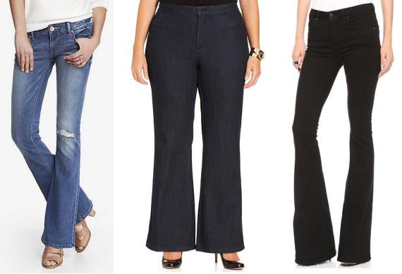 bd03fd8c8c9d60 Express Low Rise Destroyed Slim Flare Jean, $79; NYDJ Plus Size Filipa  Trouser Jeans, Dark Enzyme Wash, $120; Victoria Beckham Flare Jeans, $276