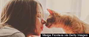WOMAN CAT LOVE