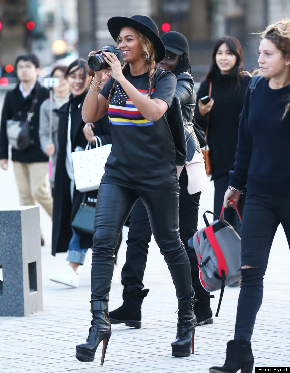 Beyonce Goes Sightseeing In Paris In 6-Inch Heels, Leather ...