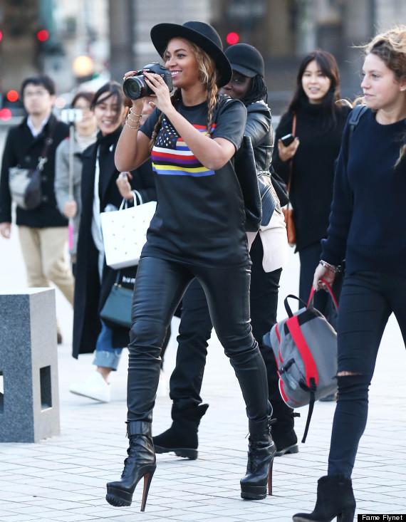Beyonce Goes Sightseeing In Paris In 6 Inch Heels Leather