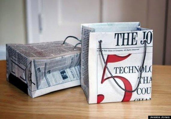 newspaper gift bag