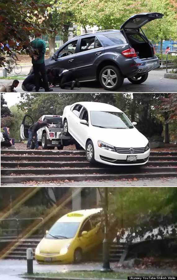 cars stuck ubc stairs