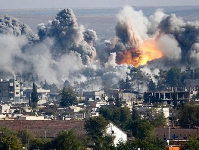 A US-led airstrike on a Syrian gas facility in Kobane