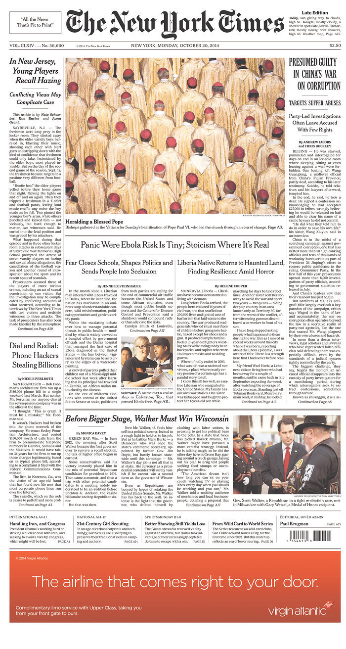 Front Pagenew York Times Design Of: New York Times Makes Yet Another Front Page Blunder