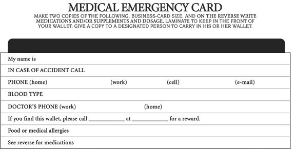 Free Medical Alert Wallet Card Template Mount Mercy University