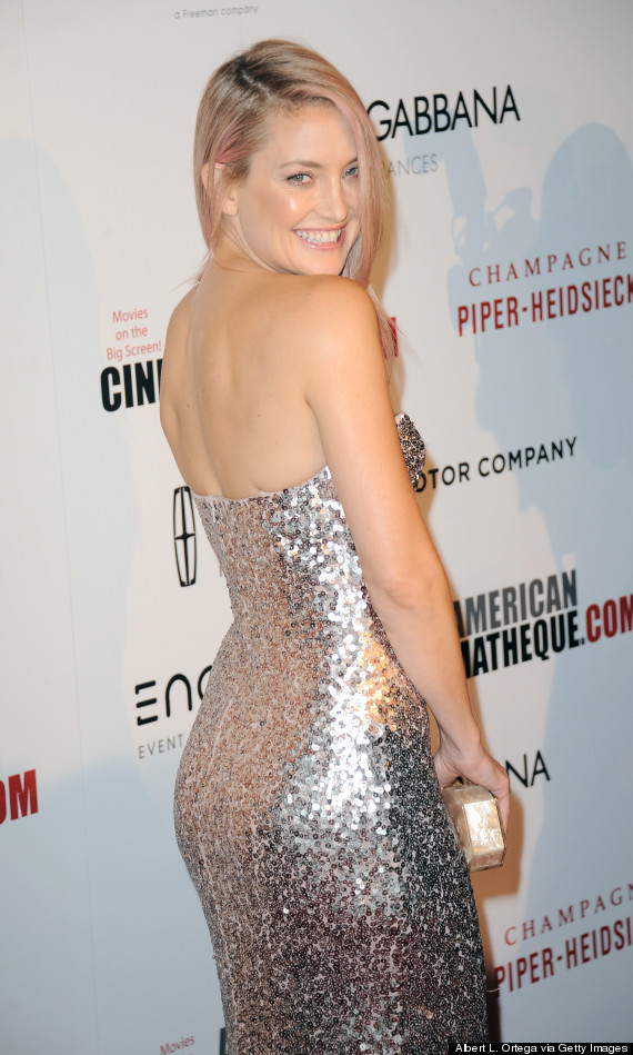Kate hudson s pink hair and sequin dress make for a glamorous