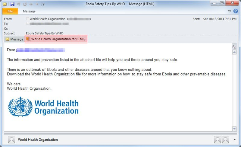 ebola email scam