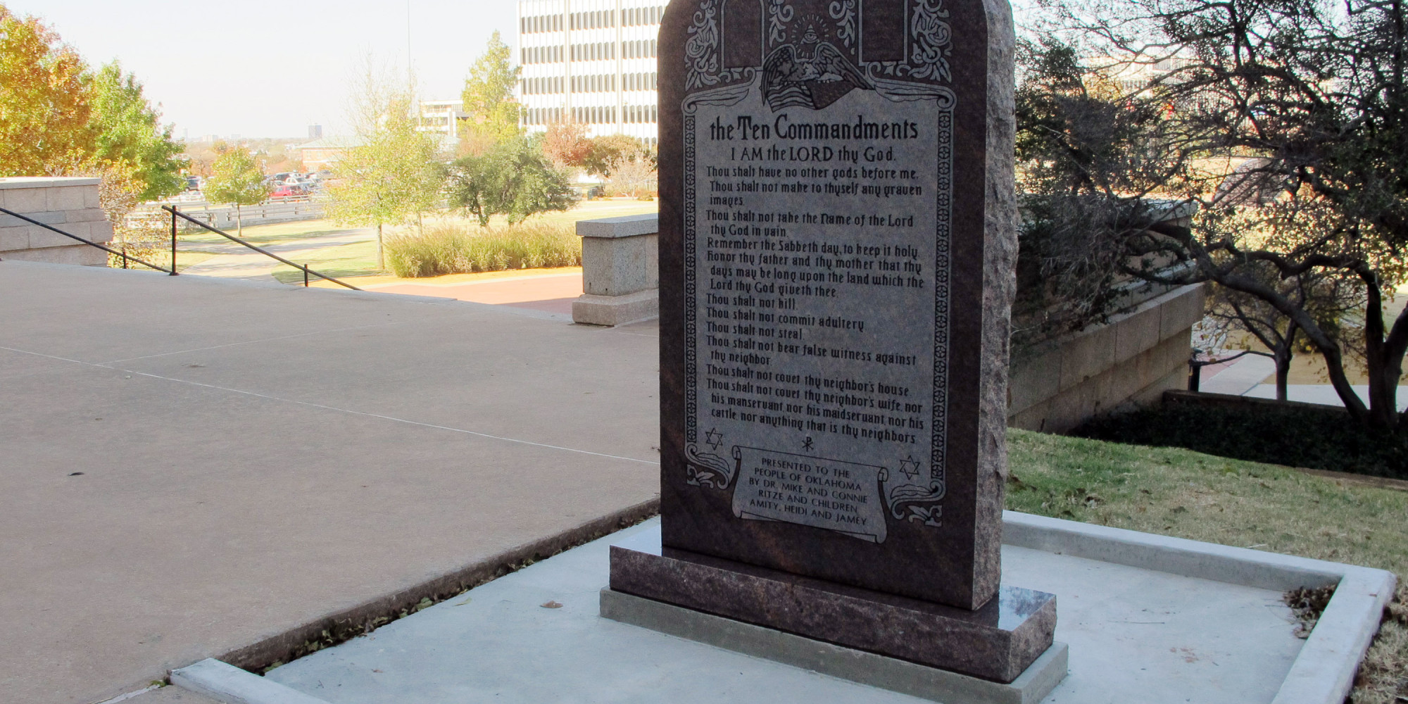 Someone Drove Through The Disputed Oklahoma Ten Commandments Monument And Smashed It To Pieces