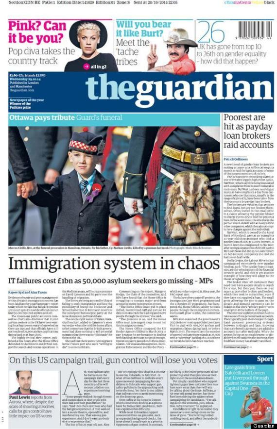 guardian front page immigration