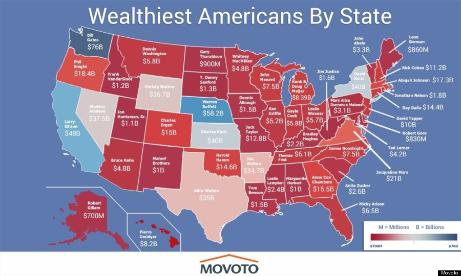 Here Is The Richest Person In Each State HuffPost - World map with all states