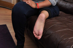 Foot attached to thigh | Pic: Caters