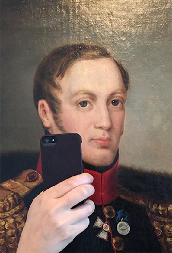 museum selfies man