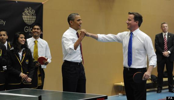 obama cameron high five