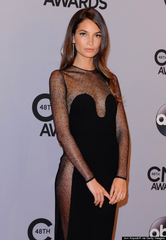 Lily aldridge wears a super sheer dress to the cma awards the