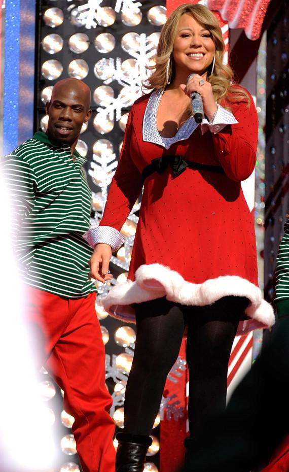 Pregnant Mariah Carey Shows Baby Bump In Santa Dress