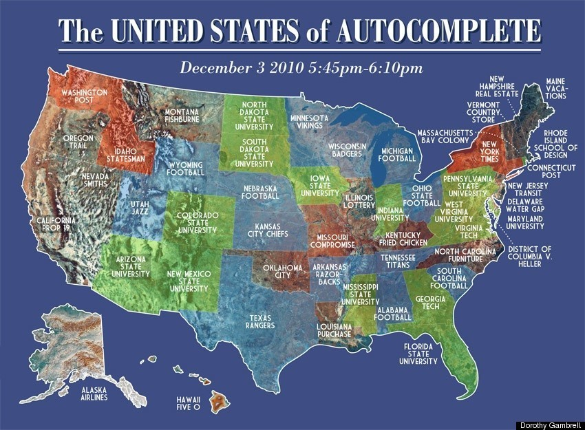 Google Instant Map Shows The United States Of Autocomplete - Maps google united states
