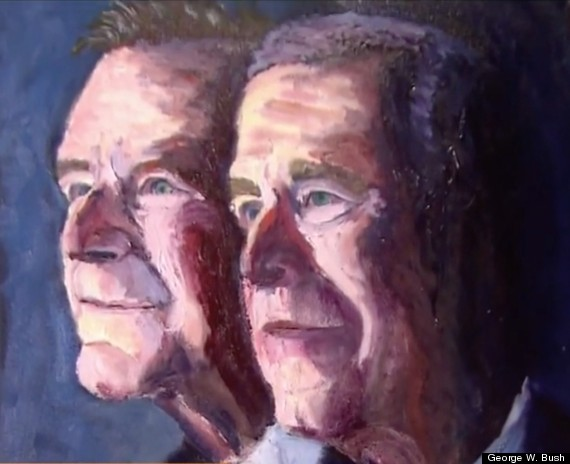 George w bush made this portrait of his dad and himself for George bush painting
