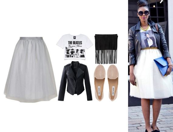 c3641376 Dorothy Perkins Lola Skye Full Midi Skirt, Forever 21 The Beatles Graphic  Tee, Chicwish My Chic Style Faux Leather Biker Jacket, Michael Kors Joni  Fringed ...