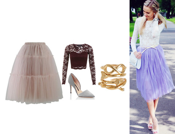b4449db0 Fairytale Princess Pink Tulle Skirt, Miss Selfridge Long Sleeve Scallop  Lace Crop Top, French Connection Elvia Pump, Spring Street Loop, Arrow, ...