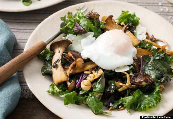 roasted wild mushrooms with foraged greens and haz