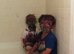 Dad Tries To Scold Paint-Covered Sons, Can't Stop Laughing