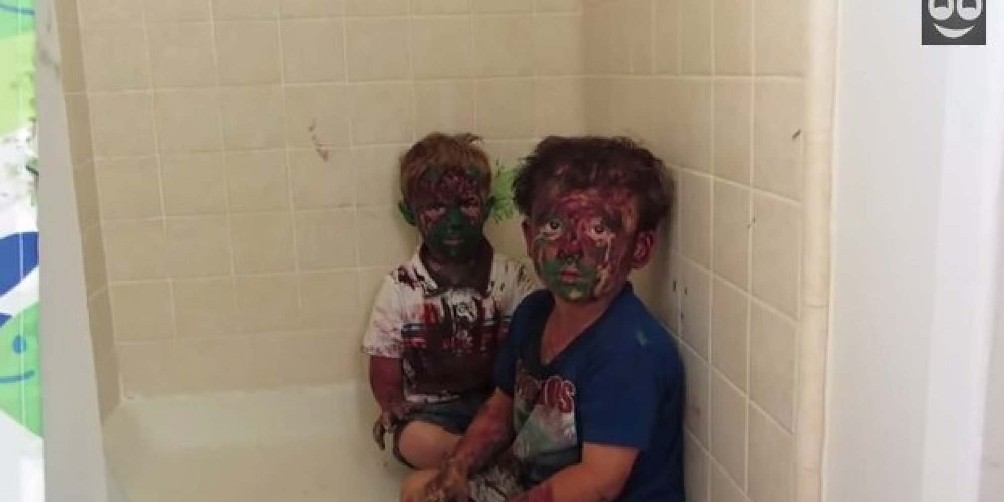Dad Can T Stop Laughing At Sons Covered In Paint