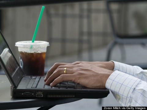 type on laptop