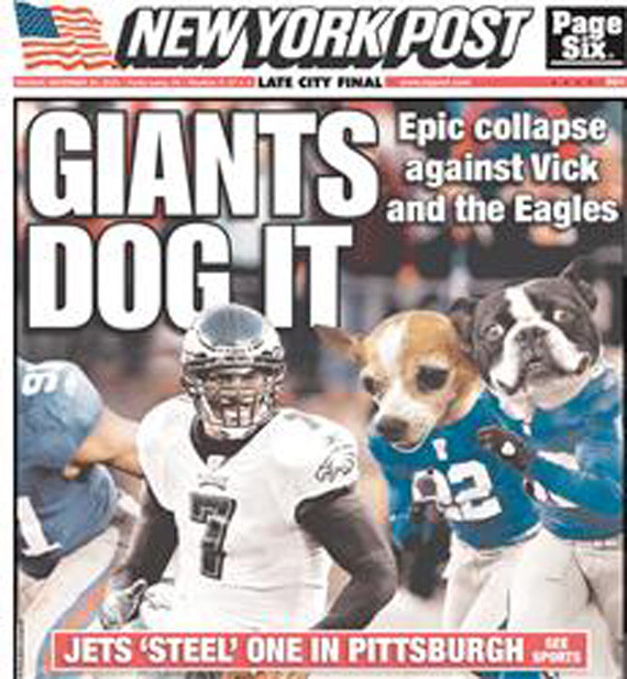 new arrivals e81f6 4ee6a New York Post Taunts Michael Vick With Headline: 'Giants Dog ...