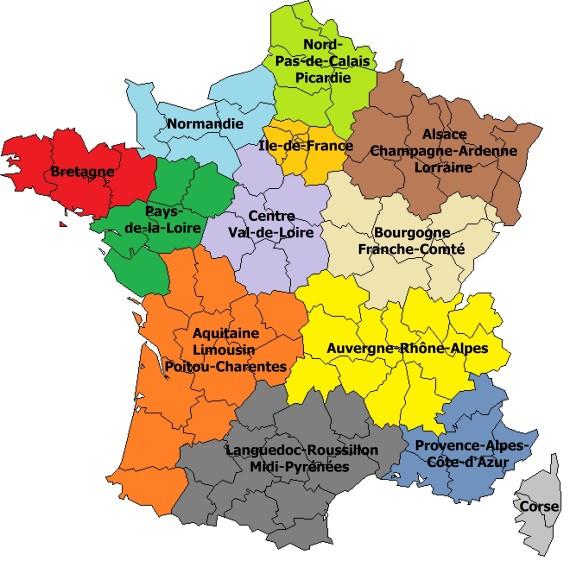 carte de france des regions en 2015