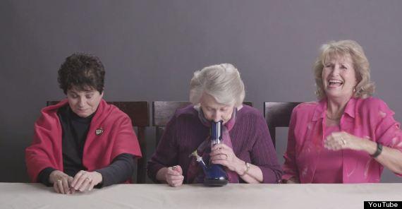grannies hitting bong