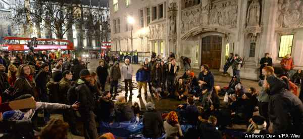 Occupy Protesters Spend Night Outside Supreme Court