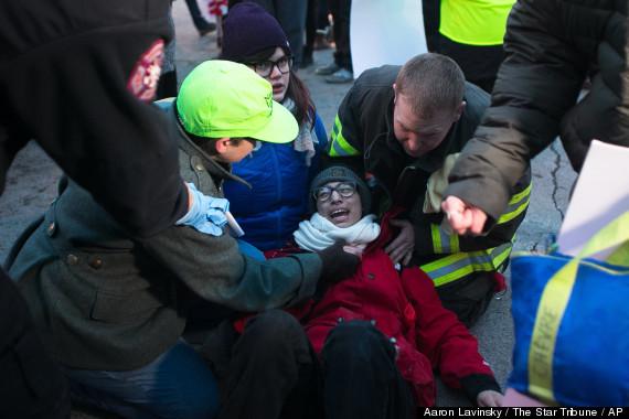 Car Drives Over Protestors